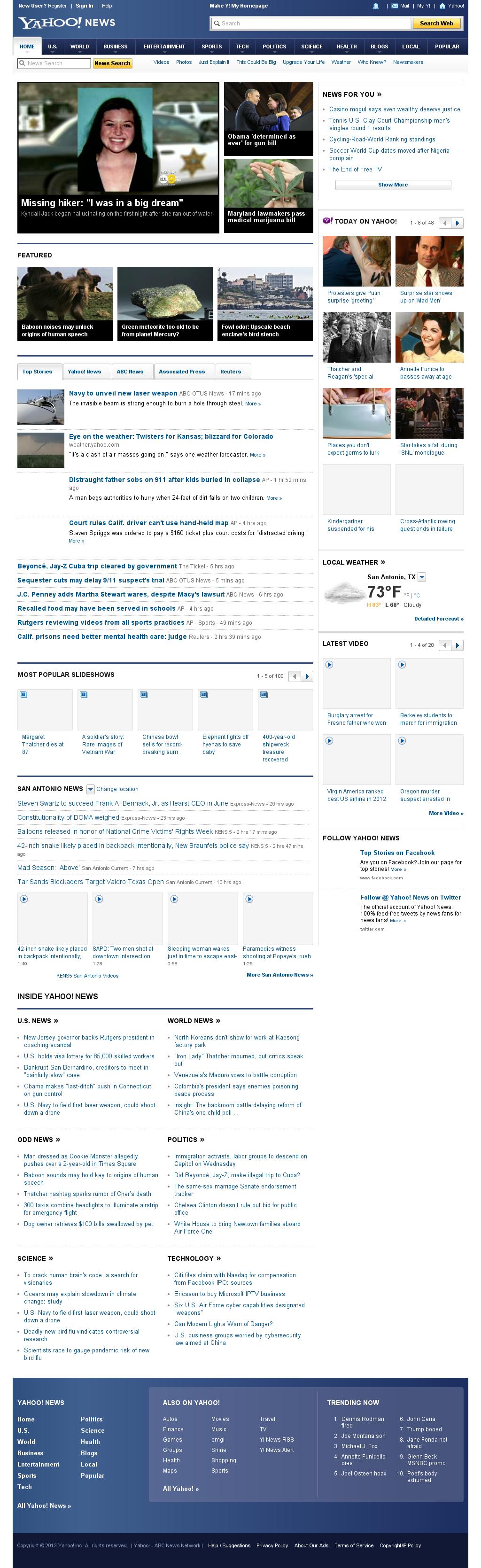 Yahoo! News at Tuesday April 9, 2013, 2:26 a.m. UTC