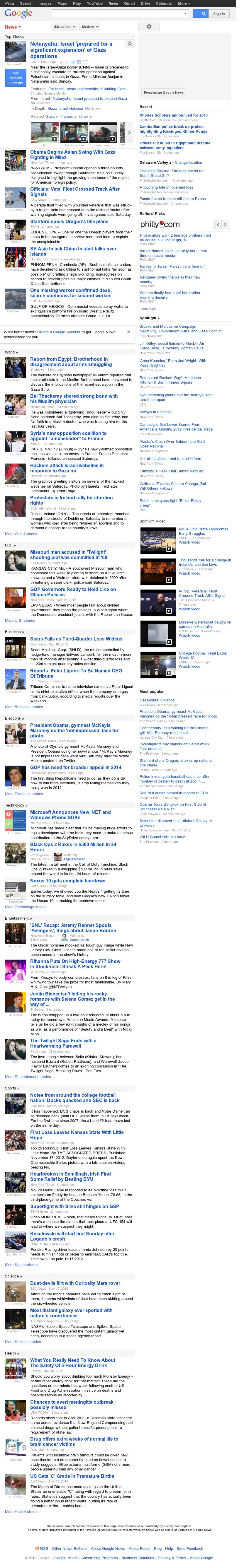 Google News at Sunday Nov. 18, 2012, 12:09 p.m. UTC