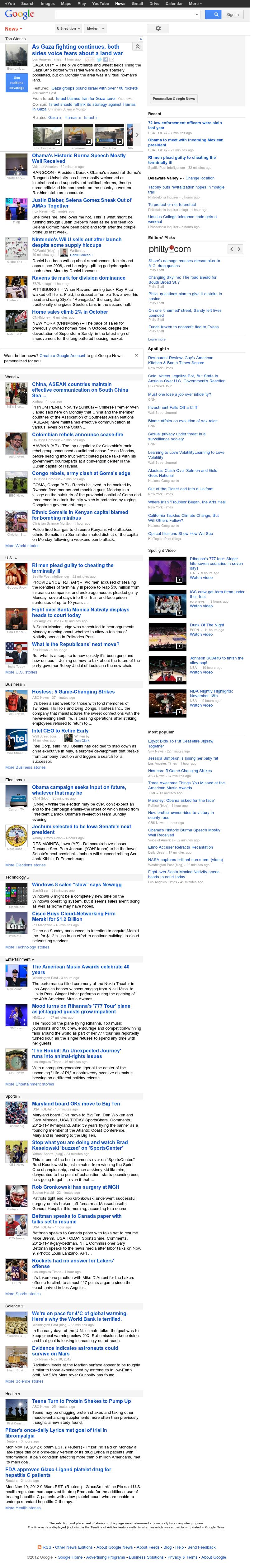 Google News at Monday Nov. 19, 2012, 5:11 p.m. UTC