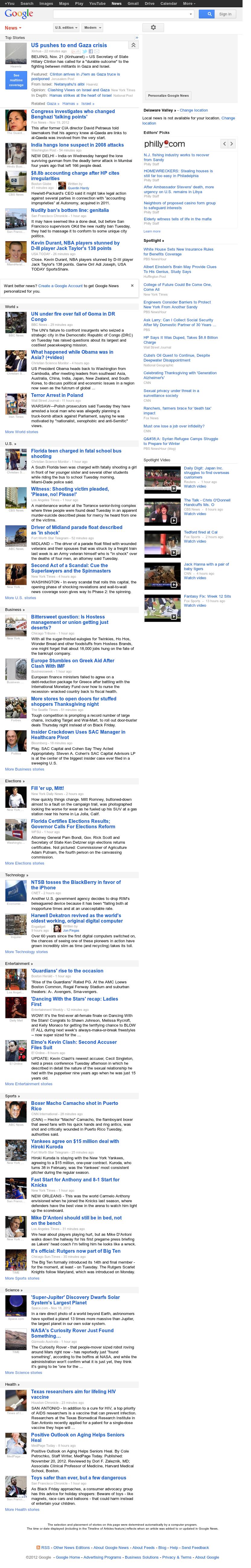 Google News at Wednesday Nov. 21, 2012, 6:10 a.m. UTC