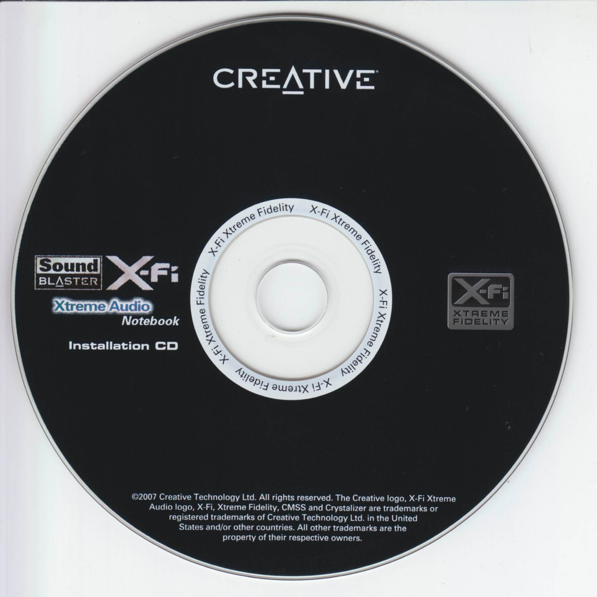 Creative Sound Blaster X-Fi Xtreme Audio Notebook Installation CD