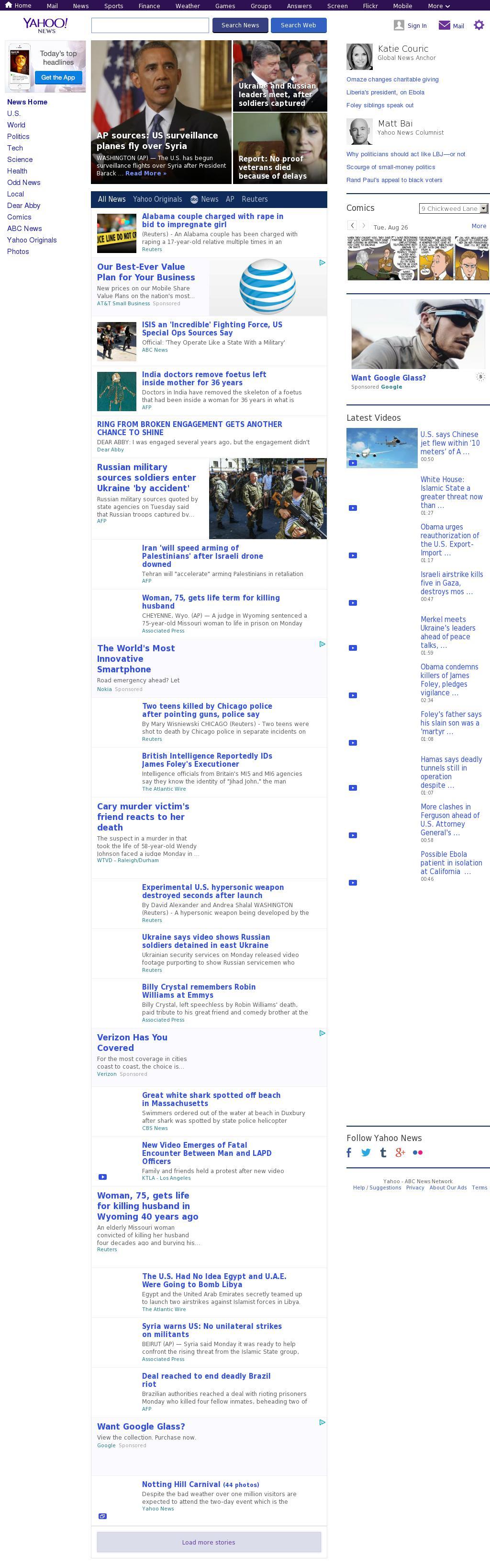Yahoo! News at Tuesday Aug. 26, 2014, 10:19 a.m. UTC