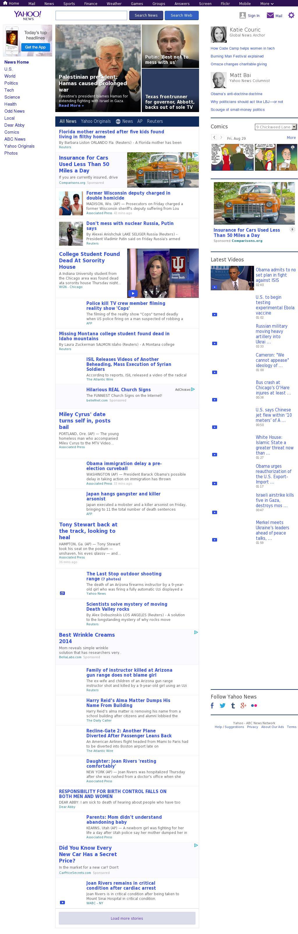 Yahoo! News at Friday Aug. 29, 2014, 10:19 p.m. UTC
