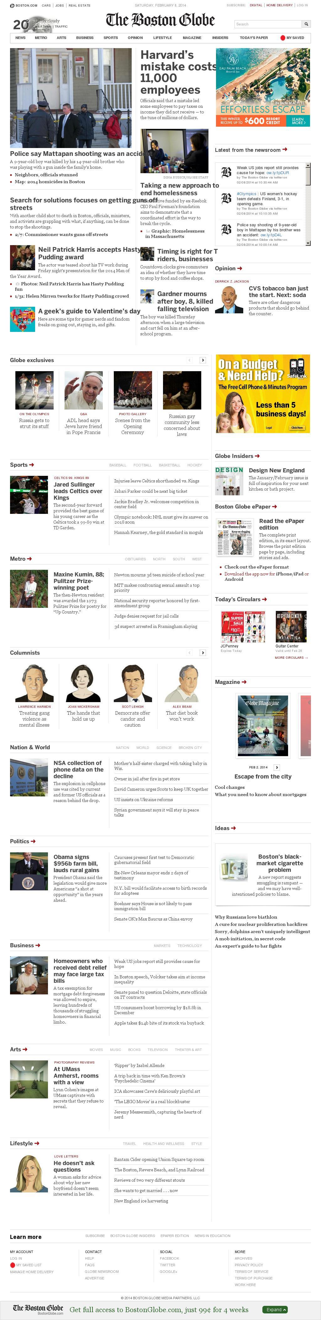 The Boston Globe at Saturday Feb. 8, 2014, 11:01 a.m. UTC