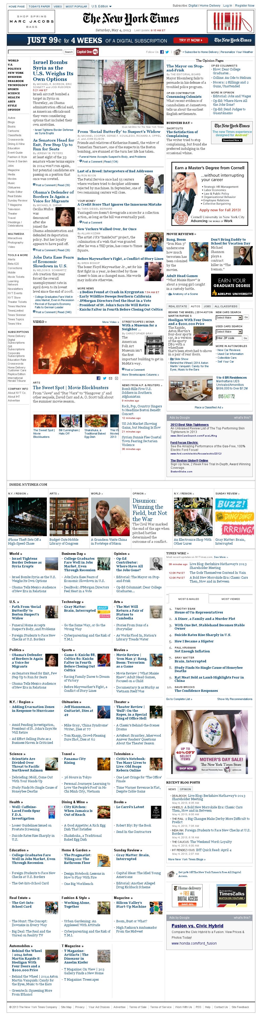 The New York Times at Saturday May 4, 2013, 1:20 p.m. UTC