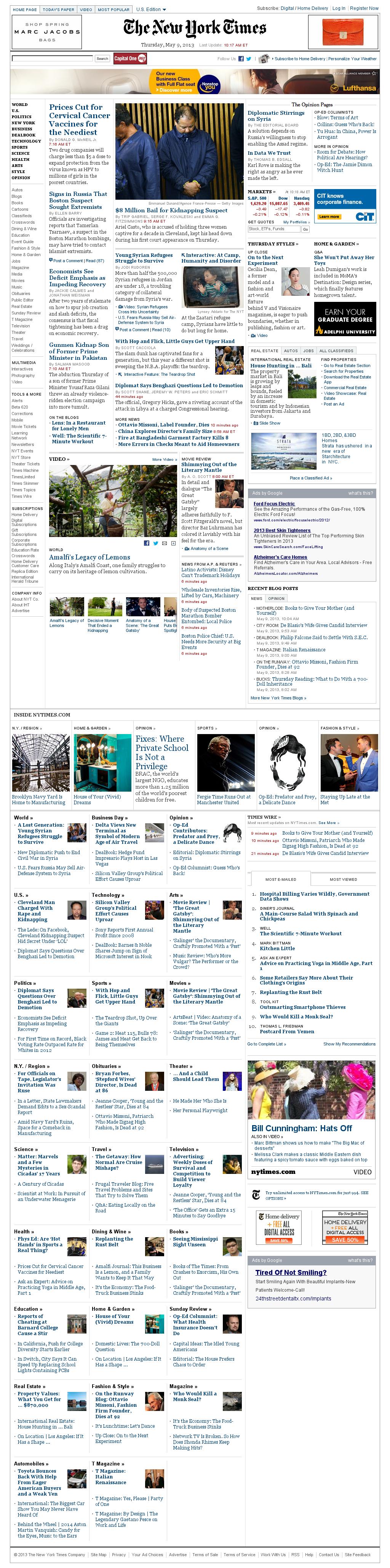 The New York Times at Thursday May 9, 2013, 2:19 p.m. UTC