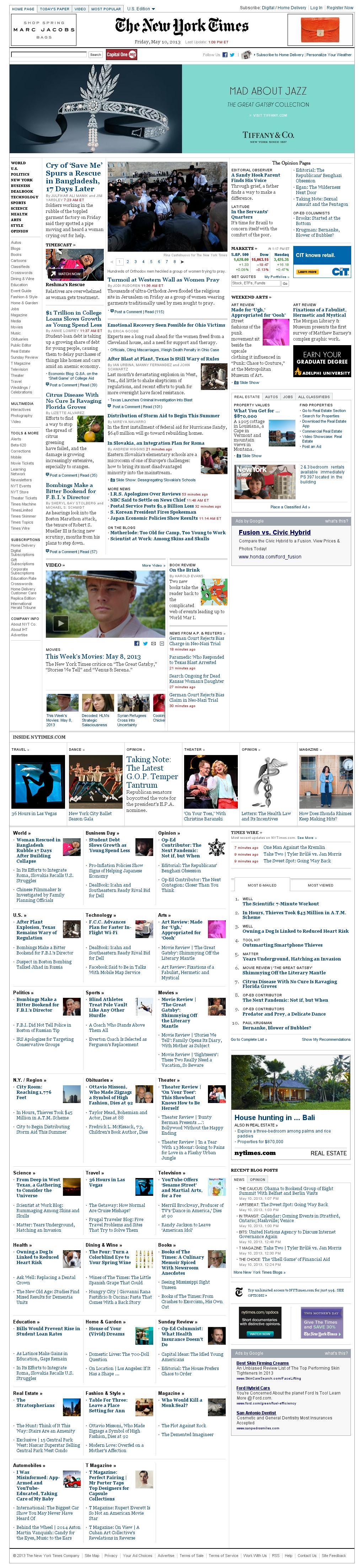 The New York Times at Friday May 10, 2013, 5:19 p.m. UTC