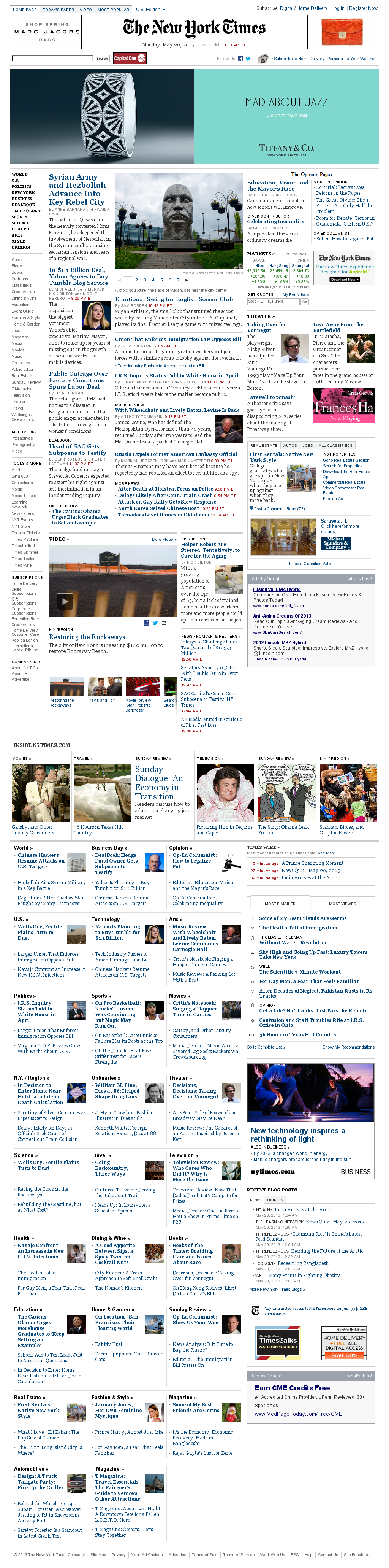 The New York Times at Monday May 20, 2013, 6:16 a.m. UTC