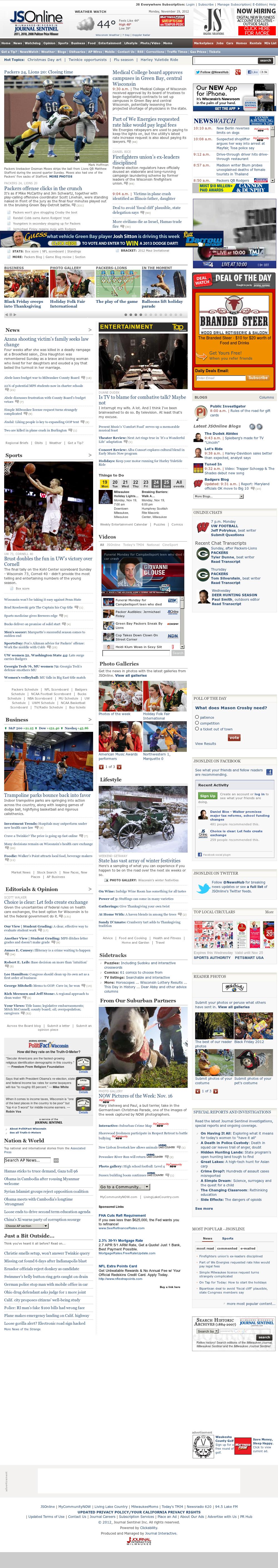 Milwaukee Journal Sentinel at Monday Nov. 19, 2012, 4:19 p.m. UTC