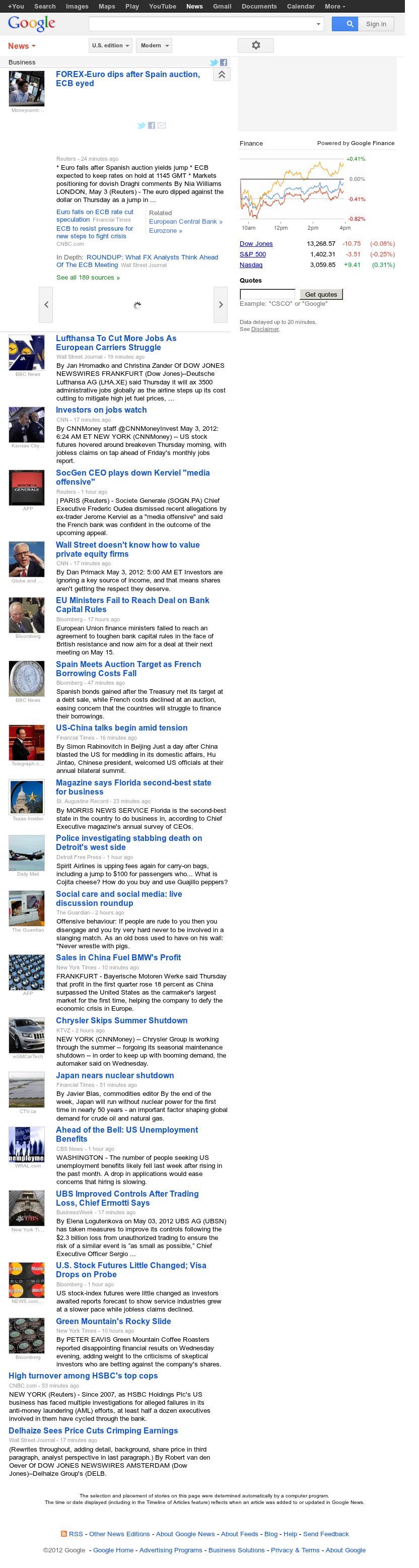 Google News: Business at Thursday May 3, 2012, 11:06 a.m. UTC