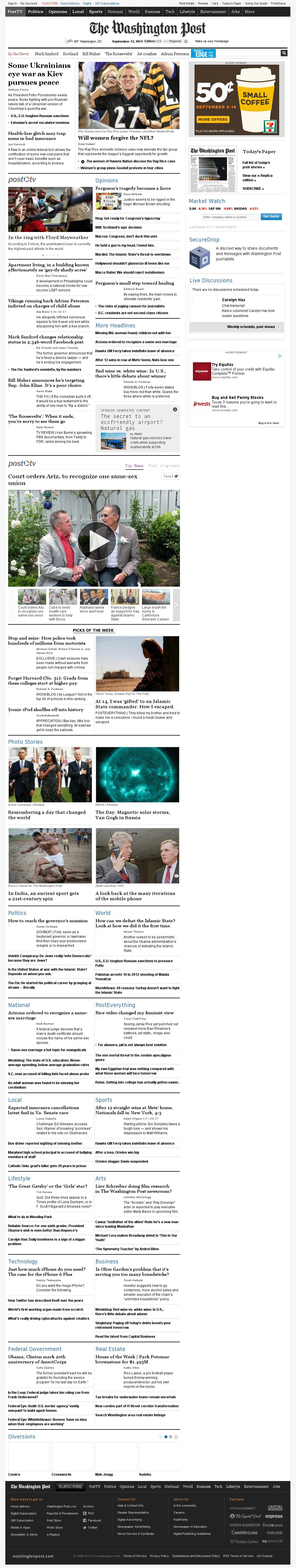 The Washington Post at Saturday Sept. 13, 2014, 5:20 a.m. UTC