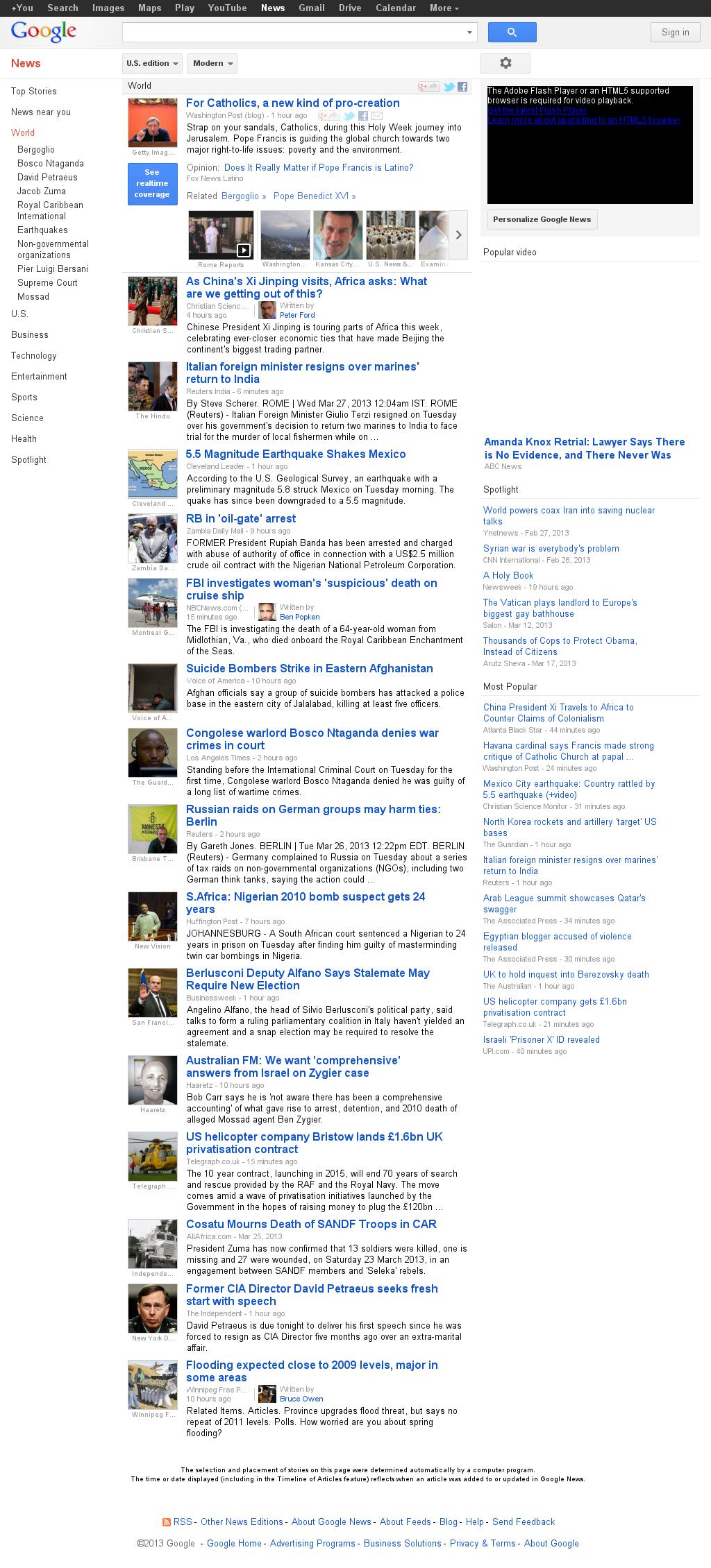 Google News: World at Tuesday March 26, 2013, 7:16 p.m. UTC