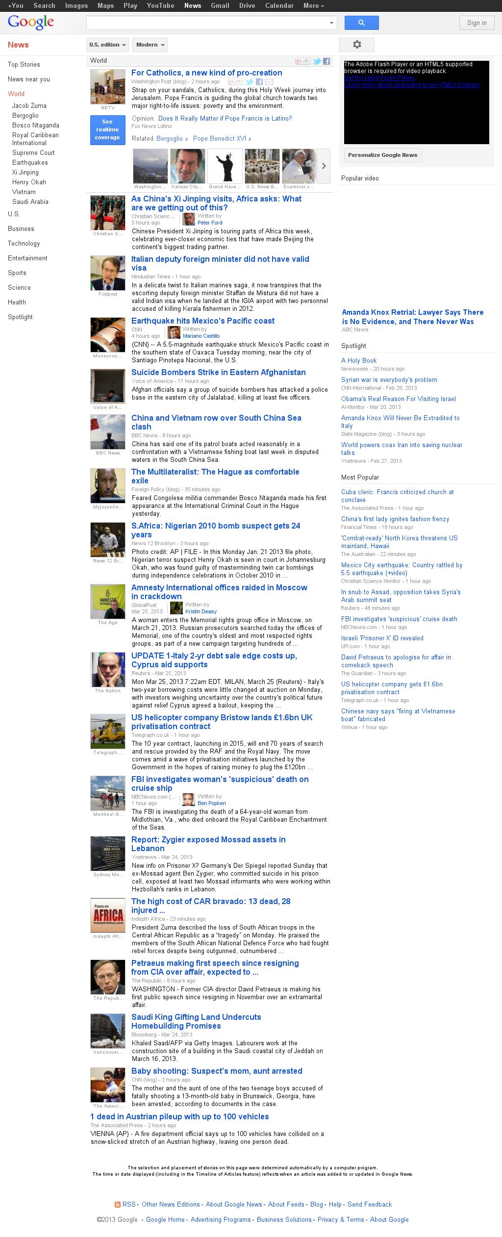Google News: World at Tuesday March 26, 2013, 8:15 p.m. UTC