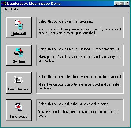 Quarterdeck CleanSweep Demo (Version 1.0)