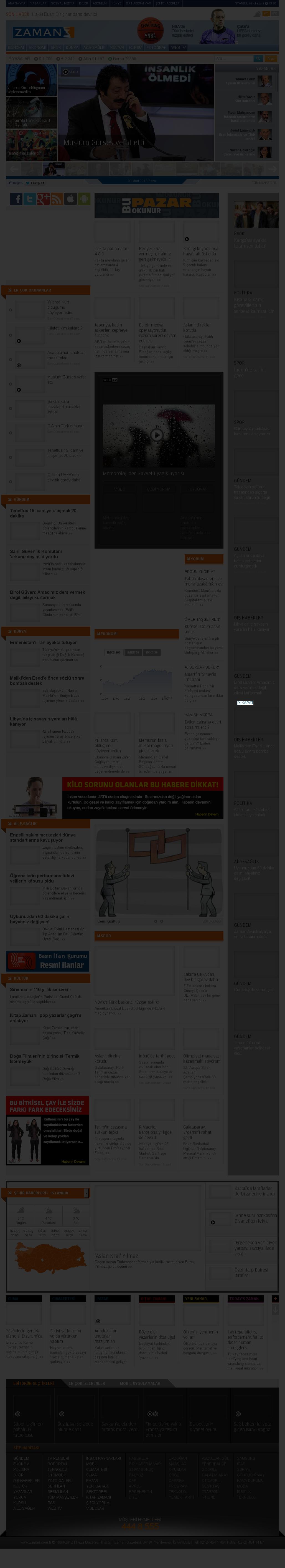 Zaman Online at Sunday March 3, 2013, 12:24 p.m. UTC